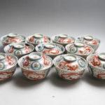 肥前有田 赤絵 龍図 蓋付茶碗 11客セット