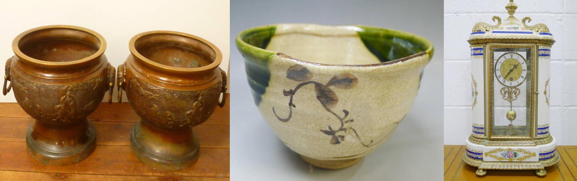 火鉢、織部茶碗、置時計