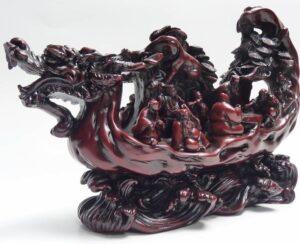 中国美術唐物龍舟仙人置物