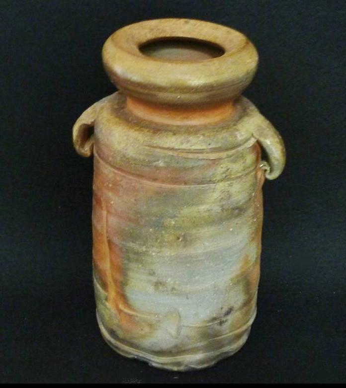 備前焼の買取 陶正園 木村陶峰造 窯変焼締耳付花瓶