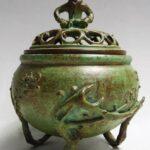 高岡銅器 須賀月芳 香炉 唐子蓋 梅文 香炉 蝋型 青銅