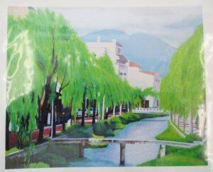 ames Sikes ジェイムズ サイクス 「白川の柳」 アクリル絵画 額装 油彩 (約) H75×W64cm 奥行6cm