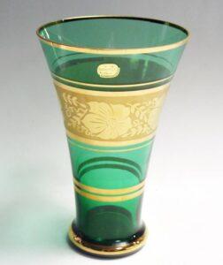 BOHEMIA ボヘミア グラス 金彩 Vase green グリーン 緑 花器 花瓶 花入 花生 紙箱
