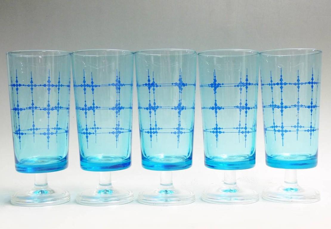 昭和レトロ ADERIA GLASS アデリア カラー グラス 脚付 グラス コップ ブルースター 5客セット