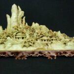 中国美術 青田石 山水 風景彫刻 置物