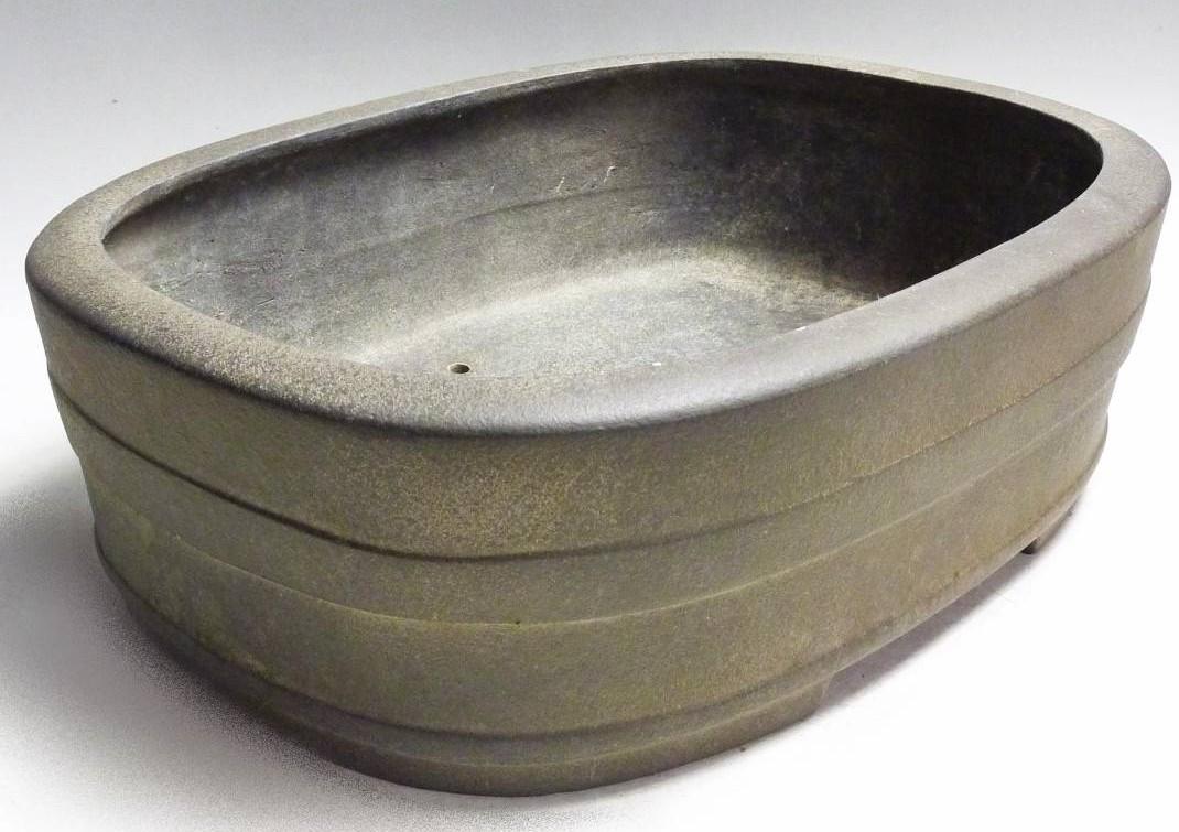 鴻陽 陶製 陶器 和鉢 植木鉢 盆栽 楕円鉢