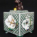 九谷焼九谷の里色絵花鳥図獅子蓋四方四角香炉茶道具
